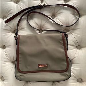 Calvin Klein Tan Nylon& Leather Crossbody Bag💋